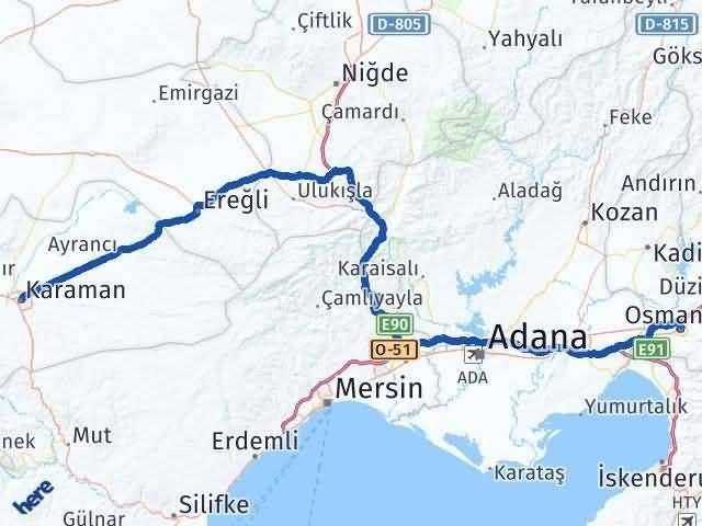 Osmaniye Karaman Arası Kaç Km - Kaç Saat? Arası Kaç Km Saat? Nerede Yol Haritası Yakıt, Rota ve Mesafe Hesaplama