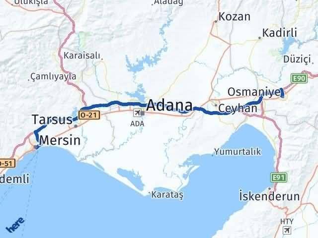 Osmaniye Mersin Arası Kaç Km - Kaç Saat? Arası Kaç Km Saat? Nerede Yol Haritası Yakıt, Rota ve Mesafe Hesaplama