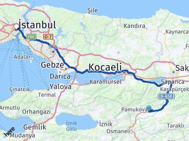 Sakarya Pamukova   İstanbul Arası Kaç Km? Arası Kaç Km Saat? Nerede Yol Haritası Yakıt, Rota ve Mesafe Hesaplama