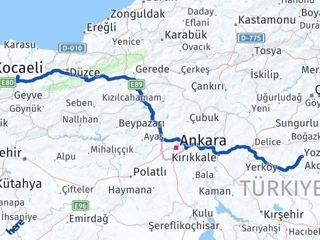 Sakarya ile Yozgat Arası Kaç Km? Kaç Saat? Arası Kaç Km Saat? Nerede Yol Haritası Yakıt, Rota ve Mesafe Hesaplama