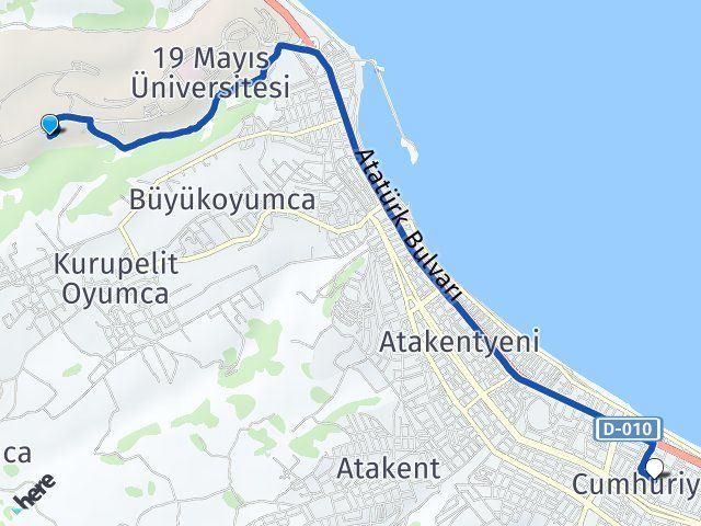 Atakum Ondokuz Mayis Universitesi Cumhuriyet Atakum Arasi Kac Km