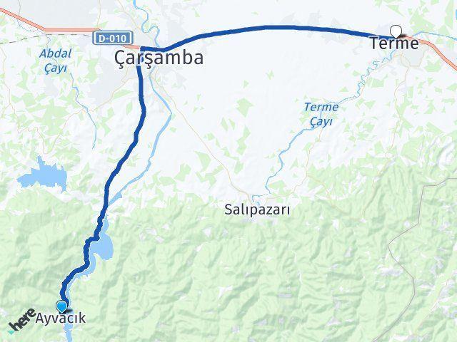 Ayvacık Samsun Terme Arası Kaç Km? Arası Kaç Km Saat? Nerede Yol Haritası Yakıt, Rota ve Mesafe Hesaplama