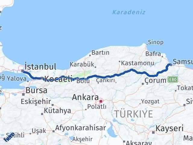 Samsun ile İstanbul Arası Kaç Km? Kaç Saat? Arası Kaç Km Saat? Nerede Yol Haritası Yakıt, Rota ve Mesafe Hesaplama