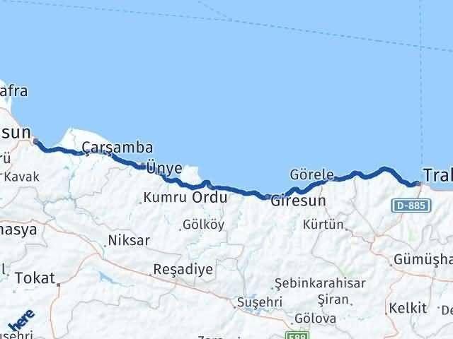 Samsun ile Trabzon Arası Kaç Km? Kaç Saat? Arası Kaç Km Saat? Nerede Yol Haritası Yakıt, Rota ve Mesafe Hesaplama
