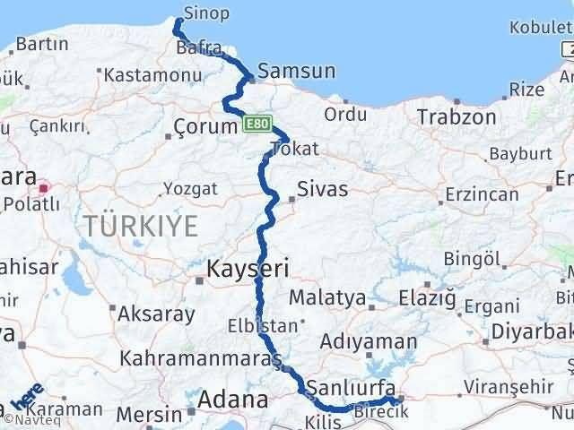 Şanlıurfa ile Sinop Arası Kaç Km? Kaç Saat? Arası Kaç Km Saat? Nerede Yol Haritası Yakıt, Rota ve Mesafe Hesaplama