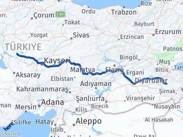 Siirt ile Kırşehir Arası Kaç Km? Kaç Saat? Arası Kaç Km Saat? Nerede Yol Haritası Yakıt, Rota ve Mesafe Hesaplama