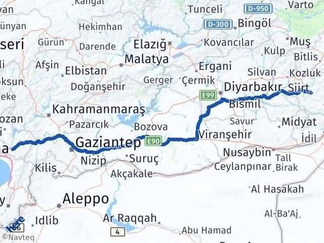 Siirt Osmaniye Arası Kaç Km - Kaç Saat? Arası Kaç Km Saat? Nerede Yol Haritası Yakıt, Rota ve Mesafe Hesaplama