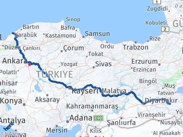 Siirt ile Zonguldak Arası Kaç Km? Kaç Saat? Arası Kaç Km Saat? Nerede Yol Haritası Yakıt, Rota ve Mesafe Hesaplama