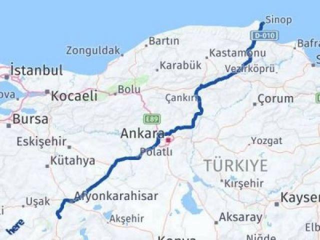 Sinop Afyon Arası Kaç Km - Kaç Saat? Arası Kaç Km Saat? Nerede Yol Haritası Yakıt, Rota ve Mesafe Hesaplama