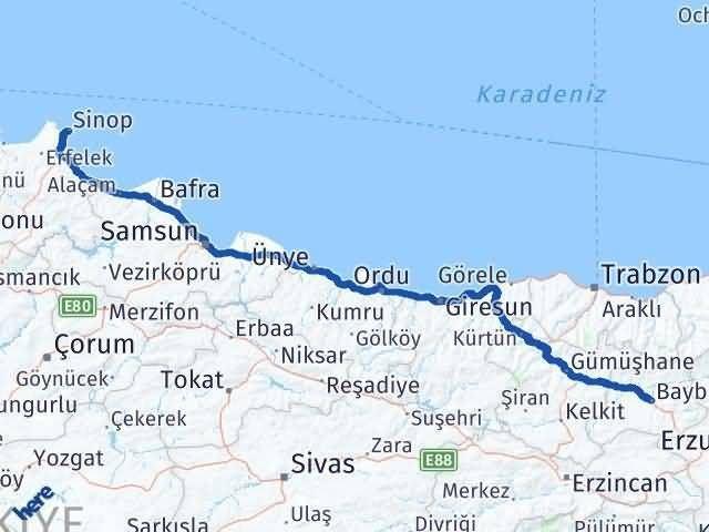 Sinop ile Bayburt Arası Kaç Km? Kaç Saat? - Kmhesaplama.com Arası Kaç Km Saat? Nerede Yol Haritası Yakıt, Rota ve Mesafe Hesaplama