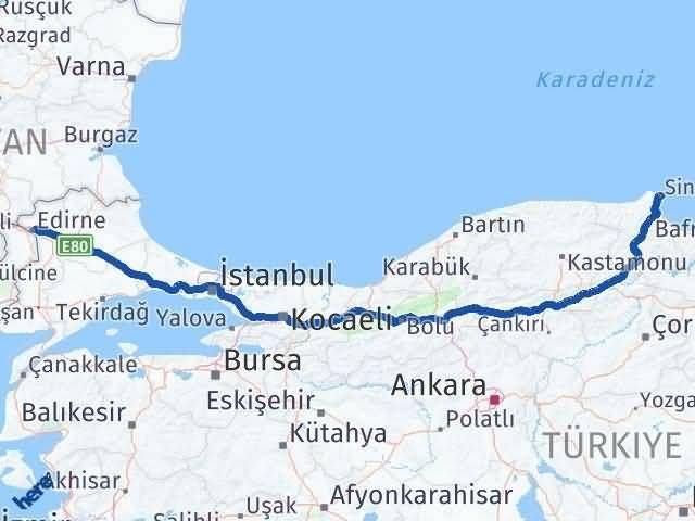 Sinop ile Edirne Arası Kaç Km? Kaç Saat? - Kmhesaplama.com Arası Kaç Km Saat? Nerede Yol Haritası Yakıt, Rota ve Mesafe Hesaplama