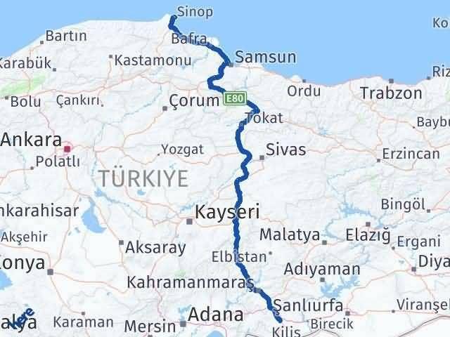 Sinop ile Gaziantep Arası Kaç Km? Kaç Saat? Arası Kaç Km Saat? Nerede Yol Haritası Yakıt, Rota ve Mesafe Hesaplama