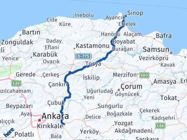 Sinop Kırıkkale Arası Kaç Km? Kaç Saat? - Km hesaplama Arası Kaç Km Saat? Nerede Yol Haritası Yakıt, Rota ve Mesafe Hesaplama
