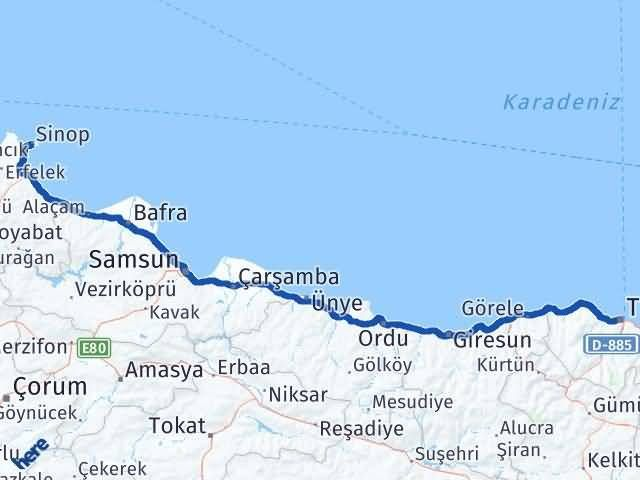 Sinop ile Trabzon Arası Kaç Km? Kaç Saat? - Kmhesaplama.com Arası Kaç Km Saat? Nerede Yol Haritası Yakıt, Rota ve Mesafe Hesaplama