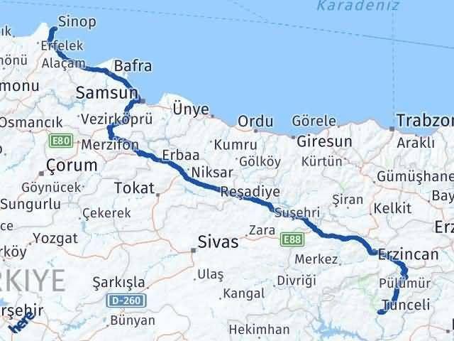 Sinop ile Tunceli Arası Kaç Km? Kaç Saat? - Kmhesaplama.com Arası Kaç Km Saat? Nerede Yol Haritası Yakıt, Rota ve Mesafe Hesaplama