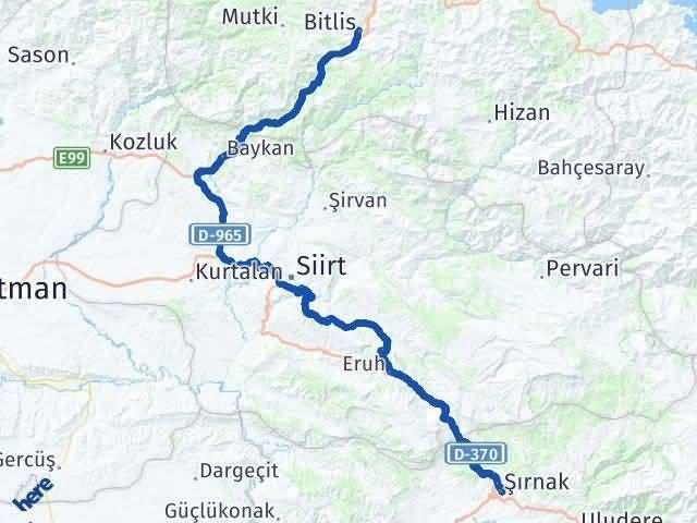 Şırnak Bitlis Arası Kaç Km? Kaç Saat? - Km hesaplama Arası Kaç Km Saat? Nerede Yol Haritası Yakıt, Rota ve Mesafe Hesaplama