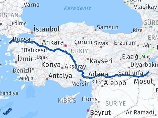 Şırnak Çanakkale Arası Kaç Km? Arası Kaç Km Saat? Nerede Yol Haritası Yakıt, Rota ve Mesafe Hesaplama