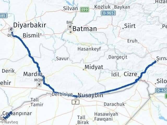 Şırnak Diyarbakır Arası Kaç Km? Arası Kaç Km Saat? Nerede Yol Haritası Yakıt, Rota ve Mesafe Hesaplama