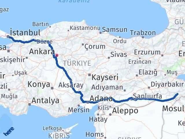 Şırnak İstanbul Arası Kaç Km? Kaç Saat? - Km hesaplama Arası Kaç Km Saat? Nerede Yol Haritası Yakıt, Rota ve Mesafe Hesaplama
