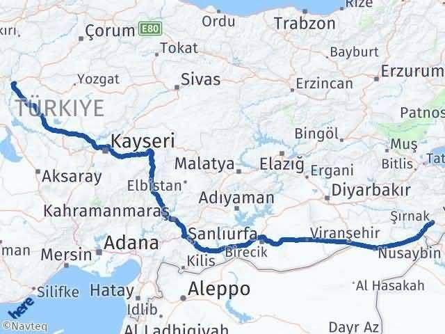 Şırnak Kırıkkale Arası Kaç Km? Arası Kaç Km Saat? Nerede Yol Haritası Yakıt, Rota ve Mesafe Hesaplama