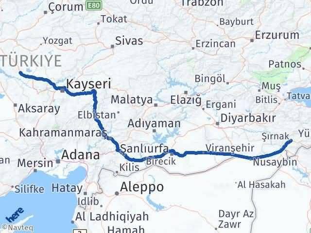 Şırnak Kırşehir Arası Kaç Km? Arası Kaç Km Saat? Nerede Yol Haritası Yakıt, Rota ve Mesafe Hesaplama