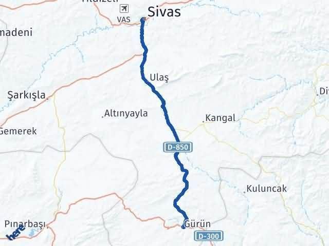 Sivas Gürün Arası Kaç Km? Yol Haritası - Km Hesaplama Arası Kaç Km Saat? Nerede Yol Haritası Yakıt, Rota ve Mesafe Hesaplama