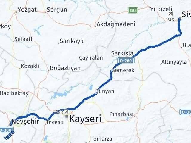 Sivas ile Nevşehir Arası Kaç Km? Kaç Saat? Arası Kaç Km Saat? Nerede Yol Haritası Yakıt, Rota ve Mesafe Hesaplama