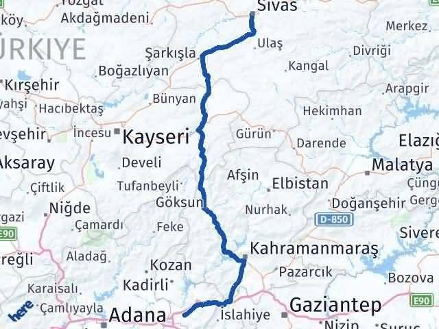 Sivas ile Osmaniye Arası Kaç Km? Kaç Saat? Arası Kaç Km Saat? Nerede Yol Haritası Yakıt, Rota ve Mesafe Hesaplama
