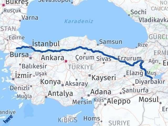 Tekirdağ ile Bitlis Arası Kaç Km? Kaç Saat? Arası Kaç Km Saat? Nerede Yol Haritası Yakıt, Rota ve Mesafe Hesaplama