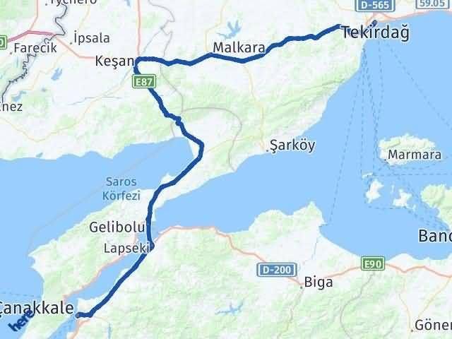 Tekirdağ ile Çanakkale Arası Kaç Km? Kaç Saat? Arası Kaç Km Saat? Nerede Yol Haritası Yakıt, Rota ve Mesafe Hesaplama