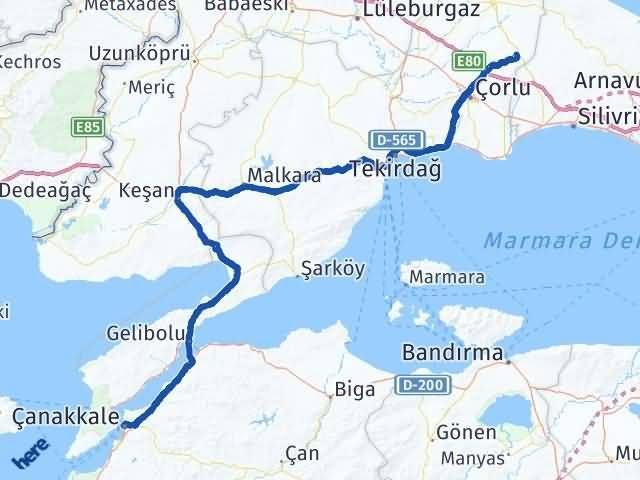 Tekirdağ Çerkezköy   Çanakkale Arası Kaç Km? Arası Kaç Km Saat? Nerede Yol Haritası Yakıt, Rota ve Mesafe Hesaplama