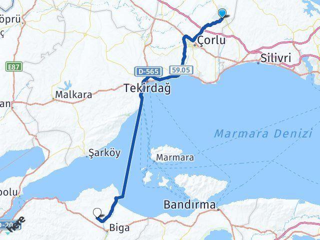 Tekirdağ Çerkezköy Yeniçiftlik Biga Arası Kaç Km? Arası Kaç Km Saat? Nerede Yol Haritası Yakıt, Rota ve Mesafe Hesaplama