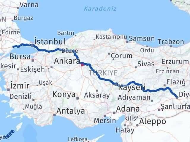 Tekirdağ ile Diyarbakır Arası Kaç Km? Kaç Saat? Arası Kaç Km Saat? Nerede Yol Haritası Yakıt, Rota ve Mesafe Hesaplama