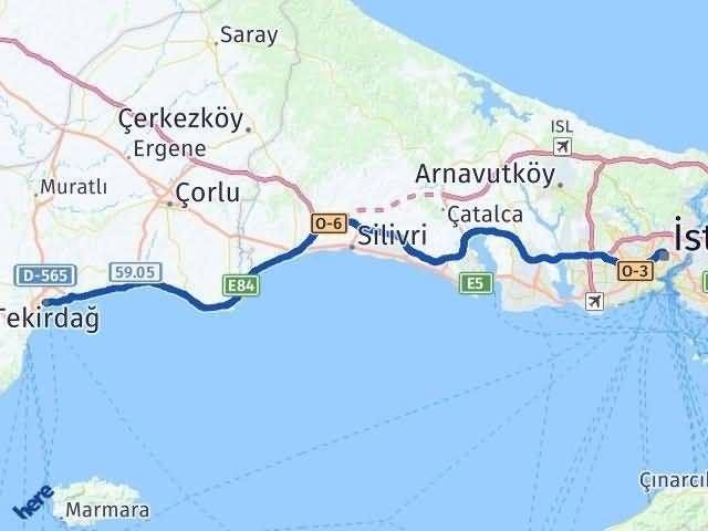 Tekirdağ ile İstanbul Arası Kaç Km? Kaç Saat? Arası Kaç Km Saat? Nerede Yol Haritası Yakıt, Rota ve Mesafe Hesaplama
