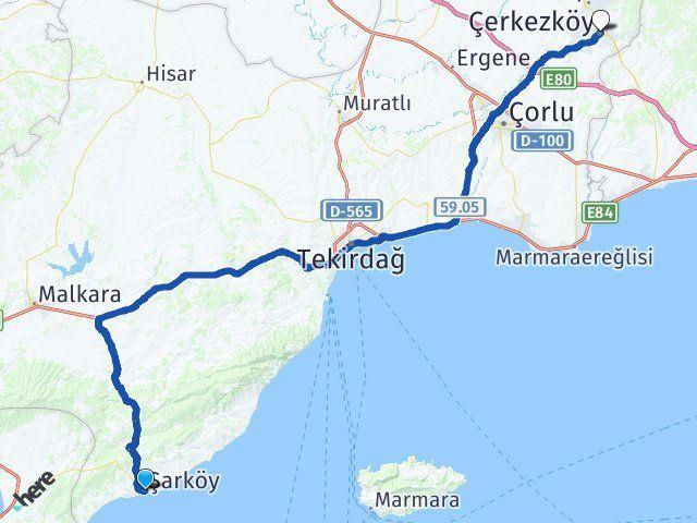 Tekirdağ Şarköy Çerkezköy Arası Kaç Km? Arası Kaç Km Saat? Nerede Yol Haritası Yakıt, Rota ve Mesafe Hesaplama