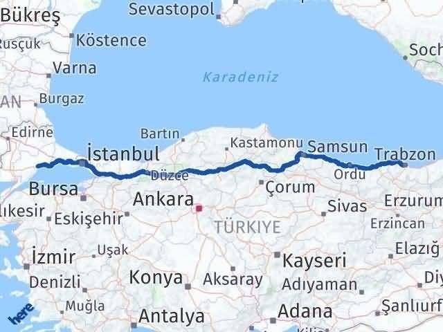 Tekirdağ ile Trabzon Arası Kaç Km? Kaç Saat? Arası Kaç Km Saat? Nerede Yol Haritası Yakıt, Rota ve Mesafe Hesaplama