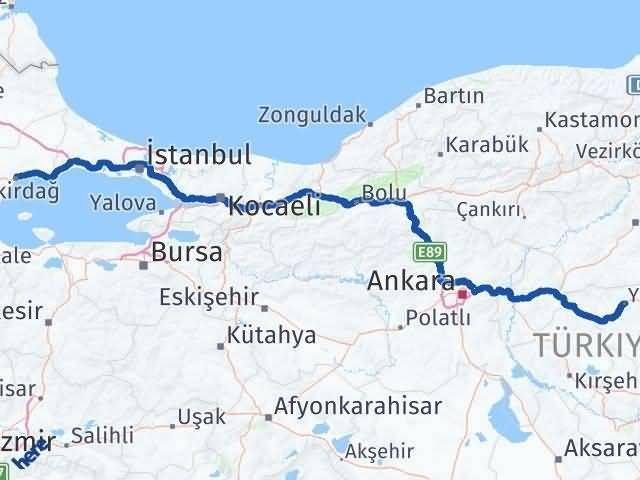 Tekirdağ ile Yozgat Arası Kaç Km? Kaç Saat? Arası Kaç Km Saat? Nerede Yol Haritası Yakıt, Rota ve Mesafe Hesaplama