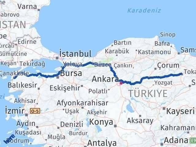 Tokat ile Çanakkale Arası Kaç Km? Kaç Saat? Arası Kaç Km Saat? Nerede Yol Haritası Yakıt, Rota ve Mesafe Hesaplama