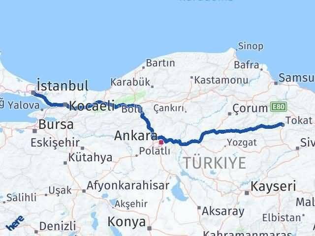 Tokat İstanbul Arası Kaç Km - Kaç Saat? Arası Kaç Km Saat? Nerede Yol Haritası Yakıt, Rota ve Mesafe Hesaplama