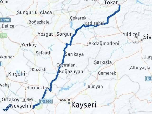 Tokat ile Nevşehir Arası Kaç Km? Kaç Saat? Arası Kaç Km Saat? Nerede Yol Haritası Yakıt, Rota ve Mesafe Hesaplama