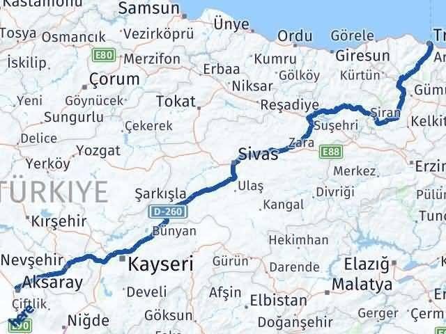 Trabzon ile Aksaray Arası Kaç Km? Kaç Saat? Arası Kaç Km Saat? Nerede Yol Haritası Yakıt, Rota ve Mesafe Hesaplama