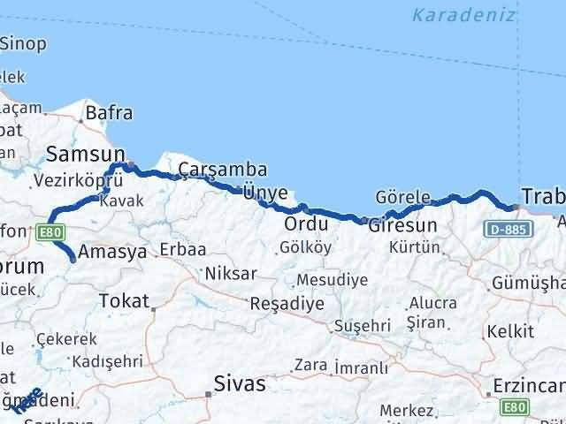 Trabzon ile Amasya Arası Kaç Km? Kaç Saat? Arası Kaç Km Saat? Nerede Yol Haritası Yakıt, Rota ve Mesafe Hesaplama