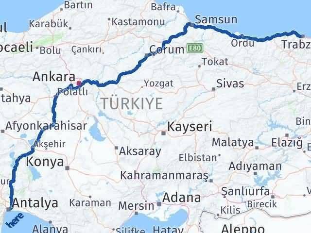 Trabzon ile Antalya Arası Kaç Km? Kaç Saat? Arası Kaç Km Saat? Nerede Yol Haritası Yakıt, Rota ve Mesafe Hesaplama