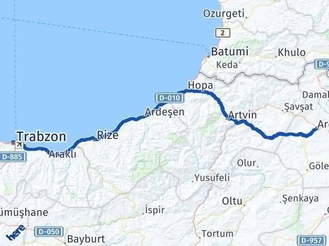 Trabzon ile Ardahan Arası Kaç Km? Kaç Saat? Arası Kaç Km Saat? Nerede Yol Haritası Yakıt, Rota ve Mesafe Hesaplama