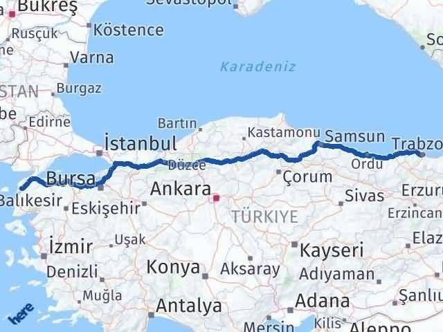 Trabzon ile Çanakkale Arası Kaç Km? Kaç Saat? Arası Kaç Km Saat? Nerede Yol Haritası Yakıt, Rota ve Mesafe Hesaplama