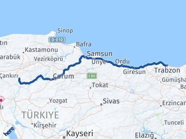 Trabzon ile Çankırı Arası Kaç Km? Kaç Saat? Arası Kaç Km Saat? Nerede Yol Haritası Yakıt, Rota ve Mesafe Hesaplama