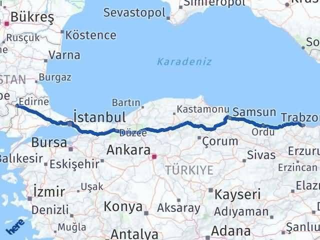 Trabzon ile Edirne Arası Kaç Km? Kaç Saat? Arası Kaç Km Saat? Nerede Yol Haritası Yakıt, Rota ve Mesafe Hesaplama