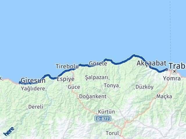 Trabzon ile Giresun Arası Kaç Km? Kaç Saat? Arası Kaç Km Saat? Nerede Yol Haritası Yakıt, Rota ve Mesafe Hesaplama