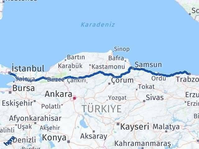 Trabzon ile İstanbul Arası Kaç Km? Kaç Saat? Arası Kaç Km Saat? Nerede Yol Haritası Yakıt, Rota ve Mesafe Hesaplama