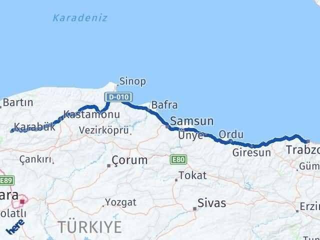 Trabzon ile Karabük Arası Kaç Km? Kaç Saat? Arası Kaç Km Saat? Nerede Yol Haritası Yakıt, Rota ve Mesafe Hesaplama